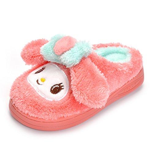 Toddler Girls Pink Bunny Slippers Children Cartoon Cute Rabbit Winter Warm Plush Fur Shoes by Matt Keely (Image #4)
