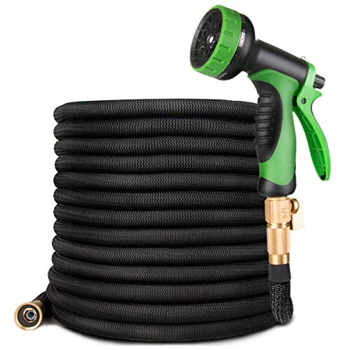 50FT Garden Hose- Heavy Duty Strongest Expandable Magic Water Hose with Double Latex Core, Solid Brass Connector 10 Pattern Spray Nozzle, Black