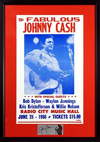 Johnny Cash @ Radio City Music Hall Concert Poster (SGA Signature Engraved Plate Series) Framed from Sports Gallery Authenticated