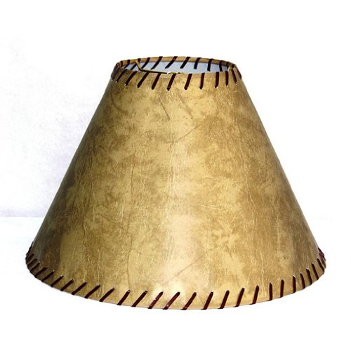 Lamp Factory A71713-FLS A Ray Of Light Large Rustic Rawhide Stitched Large Faux Leather Lamp Shade, 13