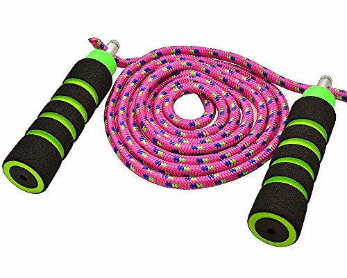 Annas Rainbow Double Dutch Jump Rope 14ft Long Skipping Rope for Indoor//Outdoor//Playground Exercise Toy with Lightweight Foam Handles Durable Adjustable 8mm Nylon Cord