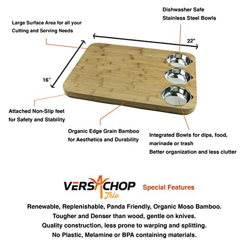 VERSACHOP Trio, Extra Large 22'' X 16'' Kitchen Cutting Board and Butcher Block made from Totally Natural Organic Moso Bamboo with Three Stainless Steel Bowls by VersaChop (Image #6)