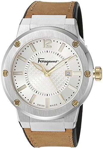 Salvatore Ferragamo Men's 'F-80' Swiss Quartz Stainless Steel and Leather Casual Watch, Color:Beige (Model: FIF080016) - Beige Dial Rubber Strap