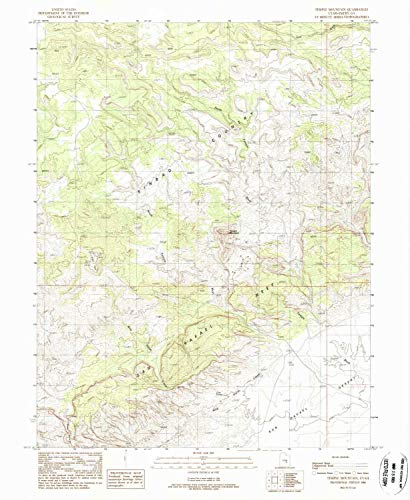 YellowMaps Temple Mountain UT topo map, 1:24000 Scale, 7.5 X 7.5 Minute, Historical, 1988, Updated 1988, 26.64 x 21.83 in - Polypropylene