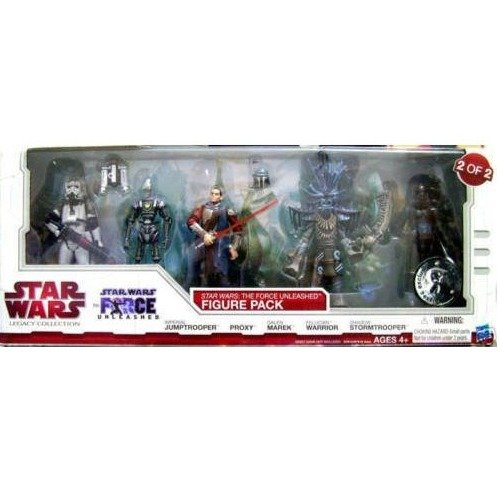 Star Wars 2010 Legacy Collection Exclusive Force Unleashed Action Figure 5Pack #2 Imperial Jumptrooper, Proxy, Galen Marek, Felucian Warrior & Shadow Stormtrooper