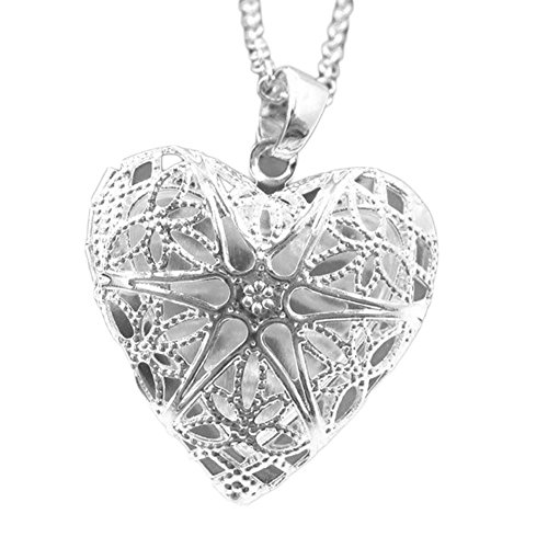 Dutch Brook Silver Plated Hollow Out Photo Picture Frame Locket Pendant Chain Necklace Heart