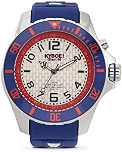 Kyboe Stainless Steel Silver Series Men's Silver Dial Silicon Rubber Watch- KY.046, Dark Blue