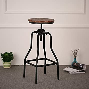 iKayaa Industrial Swivel Barstools,Metal Frame ,Height Adjustable Wood Seat, Natural Pinewood Top ,Kitchen Dining Breakfast Chair Bar Stools, Set of 2