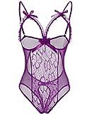 Bluetime Women's Lingerie Mesh Babydoll Sleepwear One Piece Teddy Lace Nightie