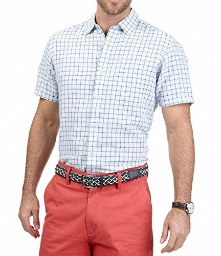 Nautica Windowpane Woven Shirt Pocketed Mens Button-Front Blue 2XL
