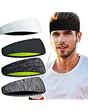 Headbands, H HOME-MART Mens Sports Headband (4 Pack), Mens Sweatband & Sports Headband for Running, Cycling, Yoga, Basketball - Stretchy Moisture Wicking Hairband