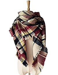 Women's Stylish Triangle Plaid Tartan Scarf Winter Warm Large Blanket Wrap Shawl(03-black claret)