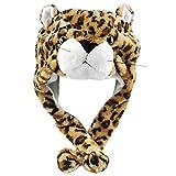 Veroda Cartoon Animal Winter Hat Fluffy Plush Warm Cap Gift Unisex Color Leopar
