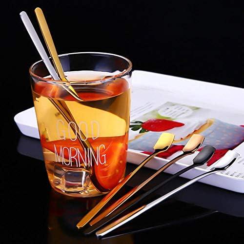 QINGYU Löffel mit langem Griff 5er-Set (farbig) für Eiscreme-Cocktail-Rührlöffel Cocktail-Rührlöffel/Latte-Löffel