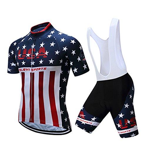 Shenshan Men's Summer USA Short Sleeve Cycling Jersey Bib Shorts Set Blue-White XXXL