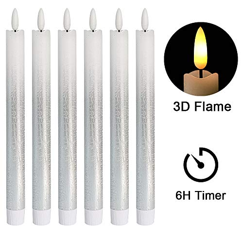 DRomance LED Flameless Taper Candles Battery Operated with 6 Hour Timer, Set of 6 Real Wax Warm Light 3D Wick Flickering Window Candles 0.78