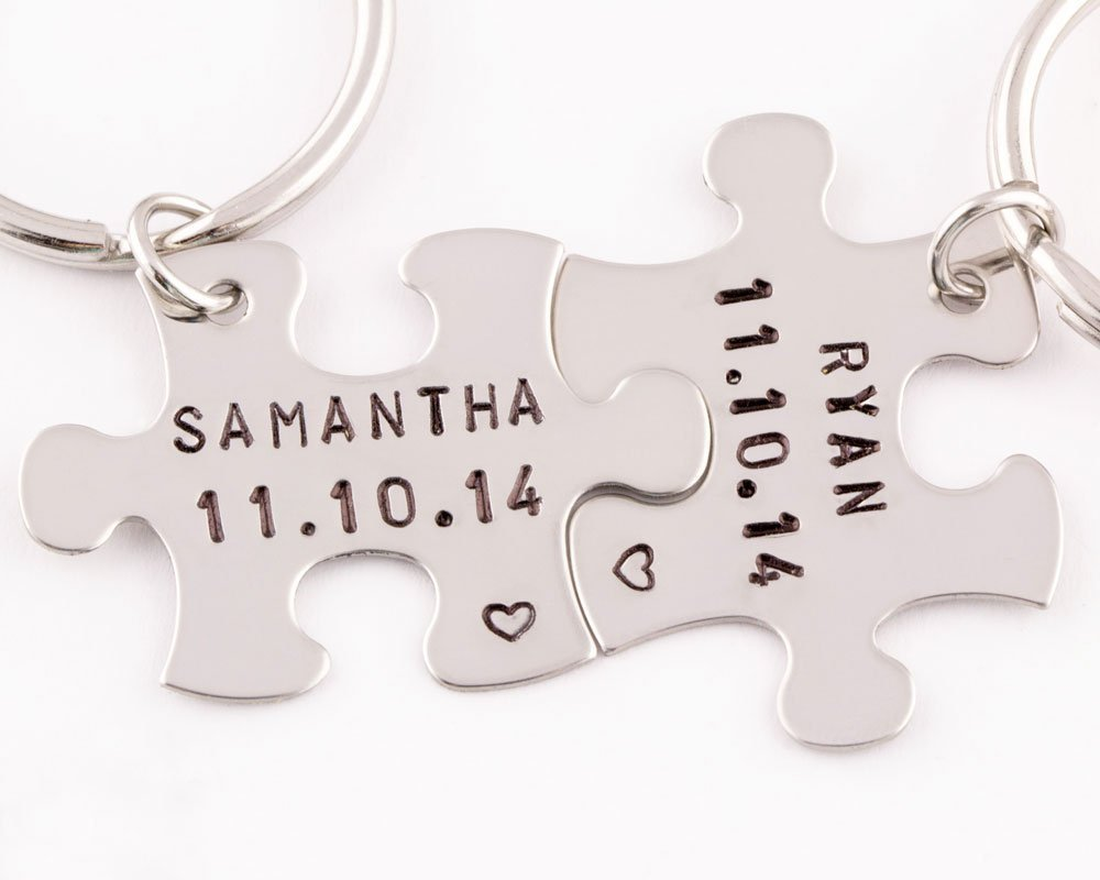 2 Piece Personalized Anniversary Date Keychains | Name & Date