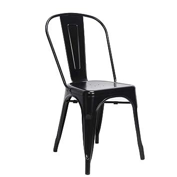 Snug Furniture Cómodos Muebles Metal Sillas Vintage Industrial Metal galvanizado Estilo Bistro Silla de Comedor Asiento Apilable - Nero, Silla ...