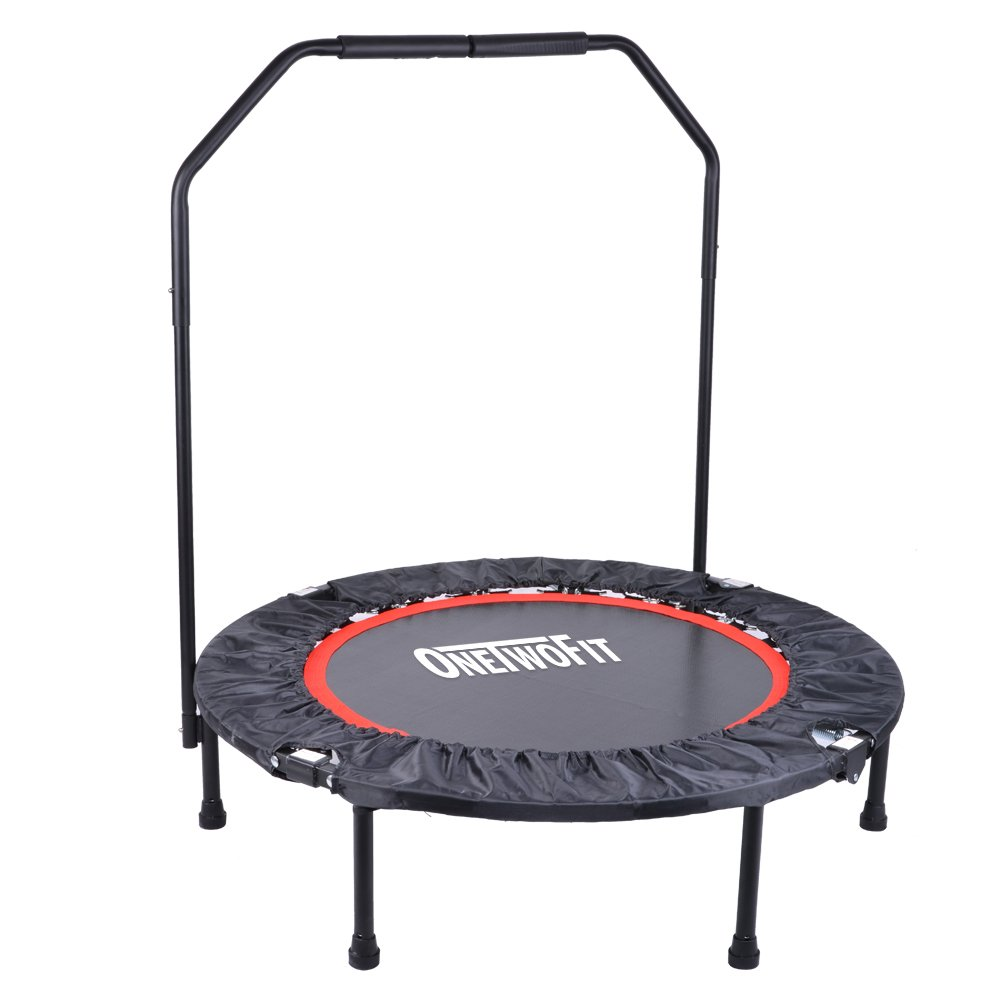 OneTwoFit 40'' Indoor Trampoline with Handrail,Foldable Fitness Trampoline for Adults,Rebounder Trampoline Exercise Trampoline for Indoor/Garden/Workout Cardio OT017 by ONETWOFIT (Image #2)