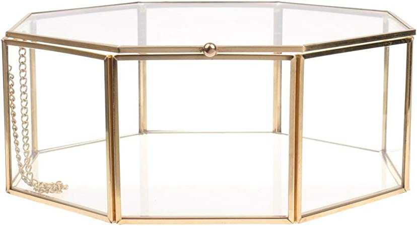Backbayia Octogonal Transparente Caja joyero de Cristal en Estuche metálico Expositor Joyero, 18x18x7.5 Cm: Amazon.es: Hogar
