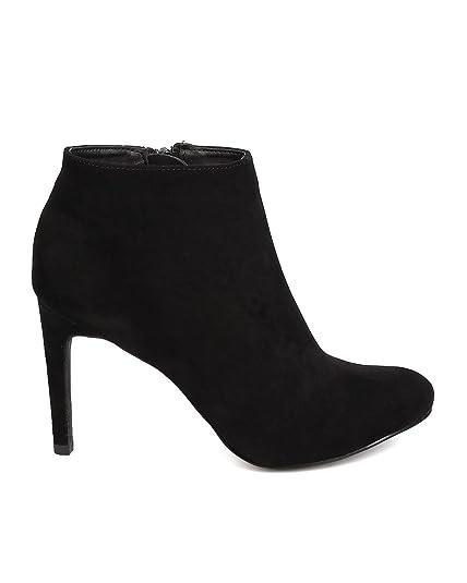 FB61 Women Faux Suede Almond Toe Single Sole Stiletto Bootie - Black