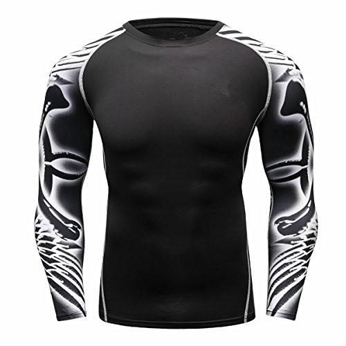 Mens Young Apparel (Fanii Quare Men's Soft Slim Long Sleeve Dry-Fit Compression Gym Trainning Shirt Black 06 M)