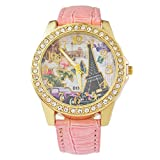 Loweryeah Inlaid Rhine Stone Gilt Graffiti Romantic Tower Quartz Watch 24cm