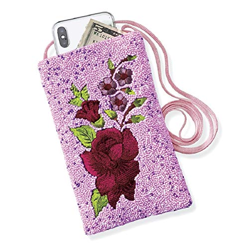 Beautiful, Handcrafted Embroidery, Lightweight, Floral & Beaded Crossbody Bag for Phone, Wallet