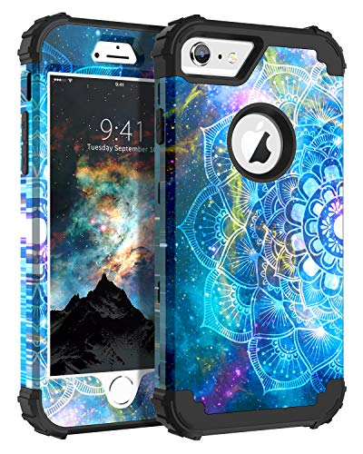 iPhone 6S Plus Case, iPhone 6 Plus Case, BENTOBEN 3 in 1 Shockproof Heavy Duty Rugged Hard PC Cover Soft Silicone Bumper Protective Phone Case for iPhone 6S Plus/6 Plus 5.5 Inch, Mandala in Galaxy