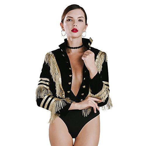 Miss ord Women O-Neck Long Sleeve Golden Tassels Velvet Buttons Coat top Black ()