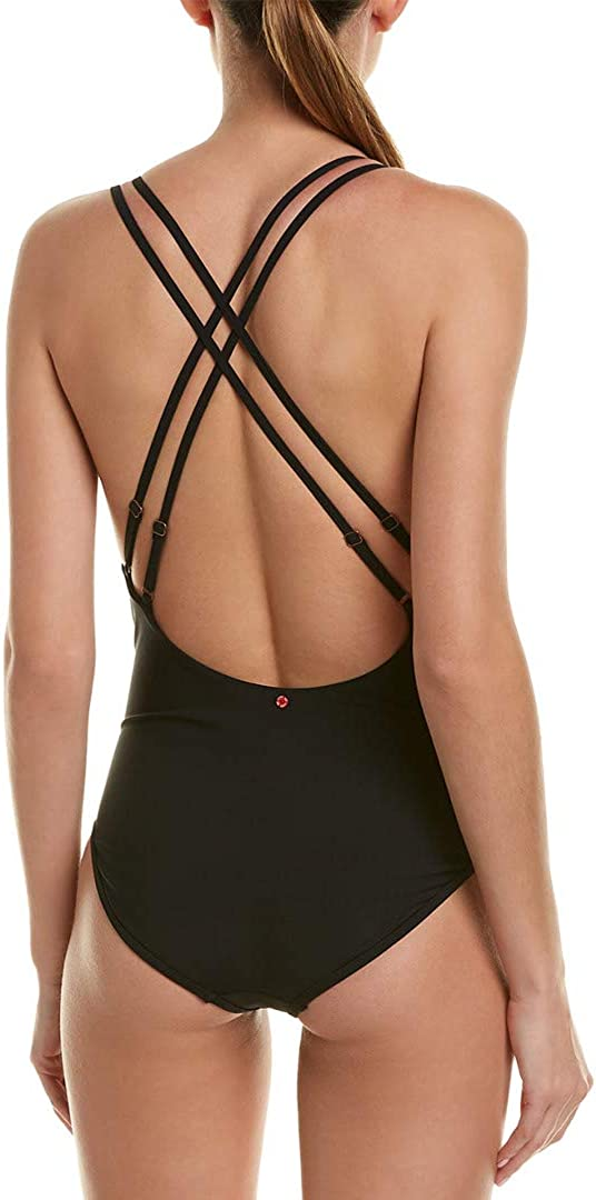 Red Carter Womens Cross Back Maillot One-Piece Bathing Swim Suit