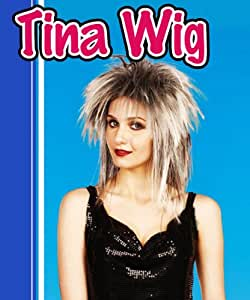 Tina Turner Grey & Black 2 Tone Wig Rock Chick Rocker Messy Fancy Dress (peluca)