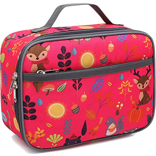 (Kids Lunch box Insulated Soft Bag Mini Cooler Back to School Thermal Meal Tote Kit for Girls, Boys,Women,Men by FlowFly (Forest))