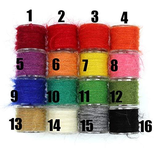 (FidgetKute 16 Colors/Lot Leech Mohair Yarn Fly Tying Fuzzy Yarn Nymph Body Tying Materials)