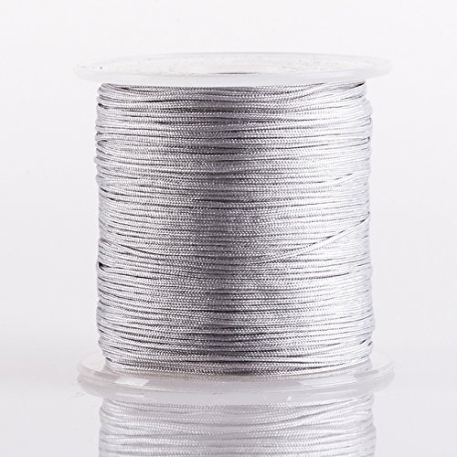 GREY 0.8mm Superior Quality Chinese Knot Nylon Cord Shamballa Macrame Beading Kumihimo String (100yards Spool)