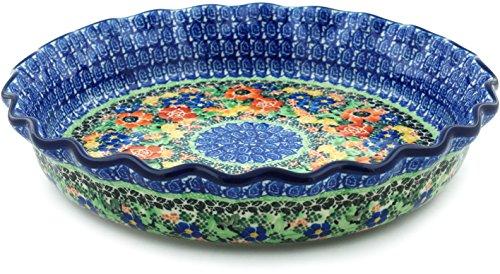 Polish Pottery Fluted Pie Dish 10-inch Bountiful Basket UNIKAT