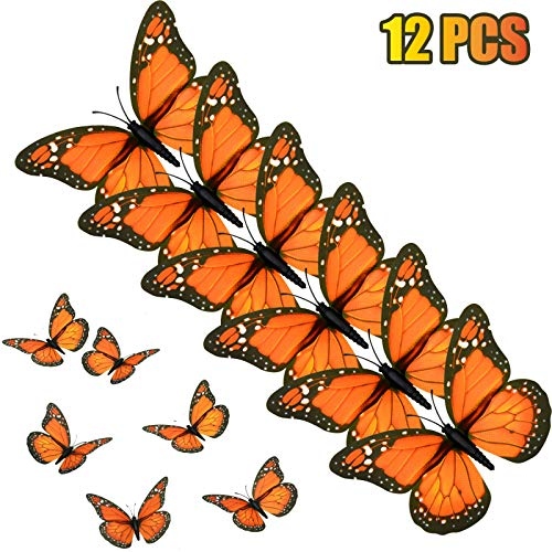 AQUEENLY Monarch Butterfly Decorations, 4.72'' Orange Premium Artificial Monarch Butterfly to Decorate for Craft, Home, Wall, Wedding, Party (12 -