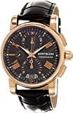 Montblanc Star 4810 Chronograph Automatic Men's Black Leather Strap Swiss Watch 104275
