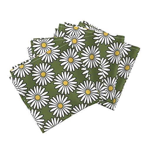 Roostery Daisies Organic Sateen Dinner Napkins Daisy White by Adranre Set of 4 Cotton Dinner Napkins Made