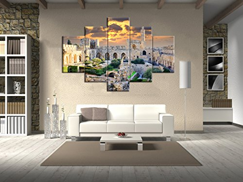 (Extra Large Islamic Religion Canvas Wall Art Mecca-Modern Muslim Split dome of the Rock Artwork-5 Panel/Set Prints Giclee for Living Room Home Decor Wooden Framed Stretched Ready to Hang(60''Wx40''H))