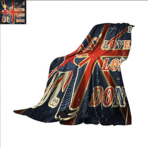 smallbeefly British Weave Pattern Blanket I Love London Quote with English Man on UK Flag Backdrop National Design Custom Design Cozy Flannel Blanket 62