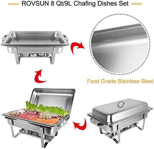 ROVSUN 8 Qt 8 Pack Full Size Upgraded Stainless Steel Chafing Dishes Buffet Silver Rectangular Catering Chafer Warmer Set with Trays Pan Lid Frame Stand Frame for Kitchen Party Banquet Dining