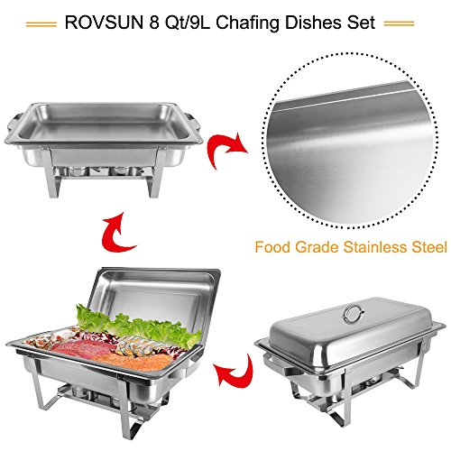ROVSUN 8 Qt 6 Pack Full Size Upgraded Stainless Steel Chafing Dishes Buffet Silver Rectangular Catering Chafer Warmer Set with Trays Pan Lid Frame Stand Frame for Kitchen Party Banquet Dining by ROVSUN (Image #1)