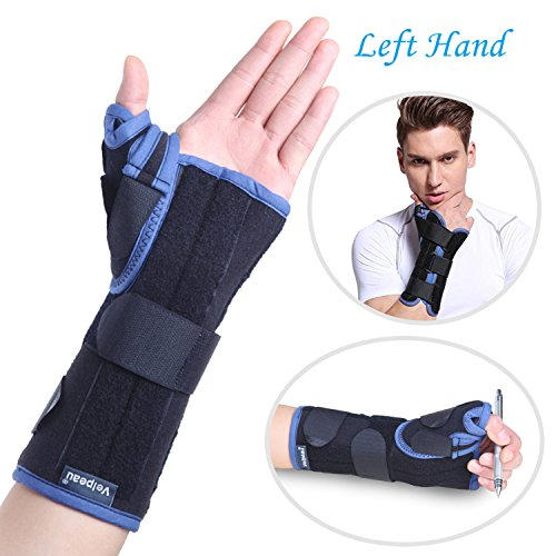 Thumb Wrist Splints (Wrist Brace with Thumb Spica Splint Support for De Quervain's, Scaphoid Fracture, Sprain or Muscle Strain, Carpal Tunnel Syndrome, Pain Relief, Injury Recovery for Men & Women (Left Small))
