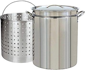 Ballington 42-Quart Stainless Steel Stock Pot w Fry Steamer Boil Basket Lid