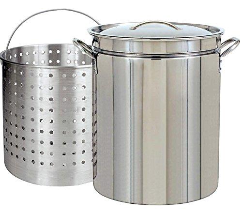 (Ballington 42-Quart Stainless Steel Stock Pot w Fry/Steamer/Boil Basket & Lid)