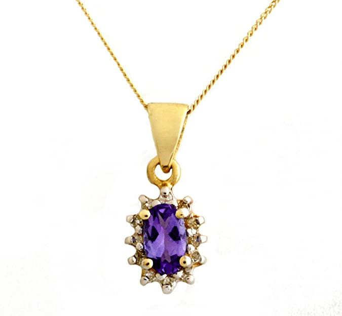 Ornami Glamour 9ct White Gold Diamond and Tanzanite Flower Pendant with 46cm Curb Chain cmRb5g13