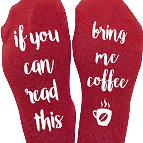 Fuzzy Socks L&ZZ Unisex Funny Saying Knitting Word Combed Cotton Crew Coffee Socks for Men Women (One size, Red)