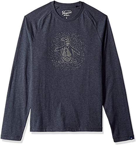 Penguin Jersey Sweater - Original Penguin Men's Long Sleeve Graphic Tee, Dark Sapphire Caviar, XL