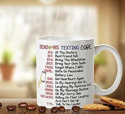 Amazon Seniors Texting Code Retirement Mug Novelty Ceramic